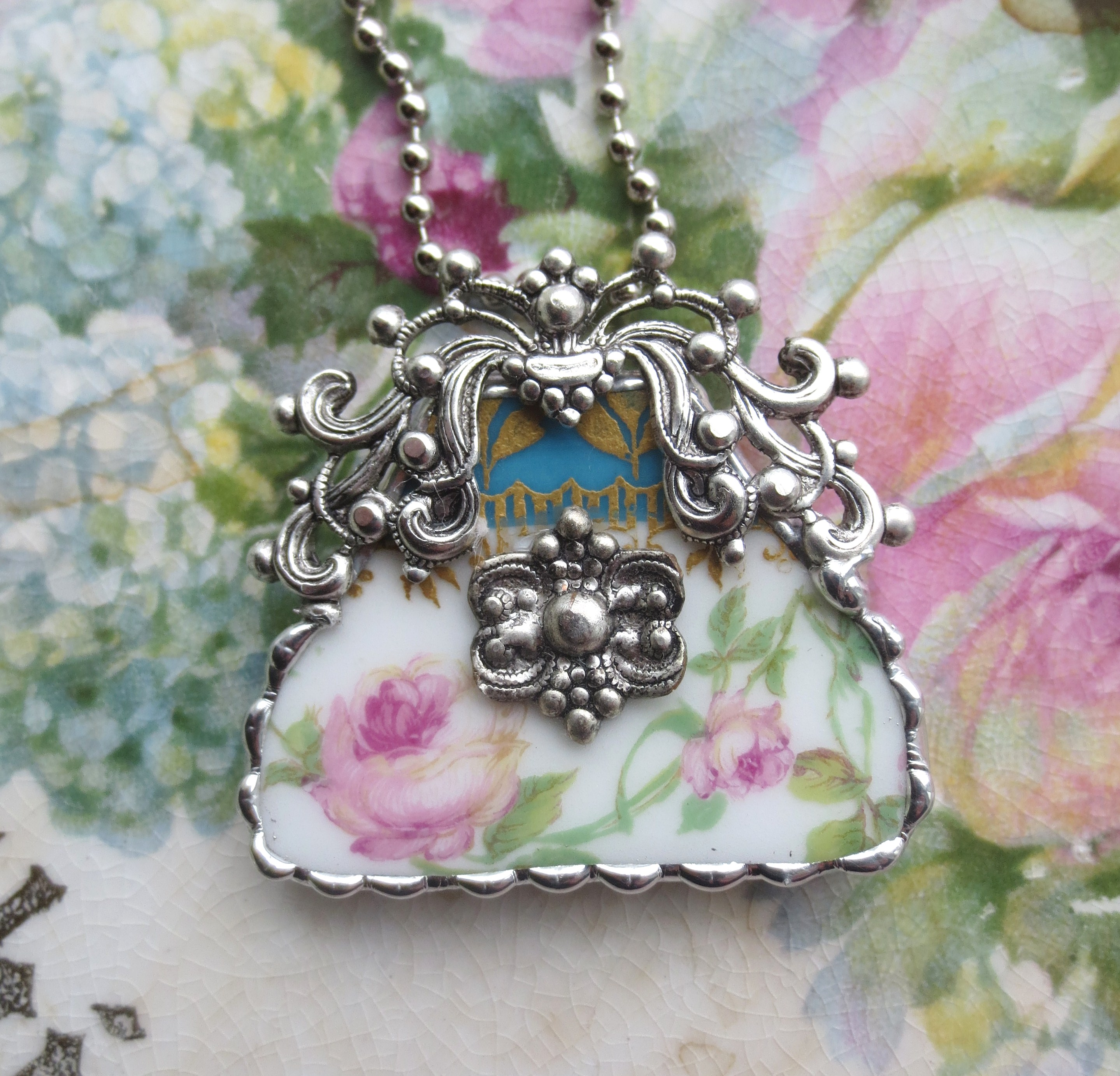 Vintage China - Ornate Roses Purse - Pendant 133