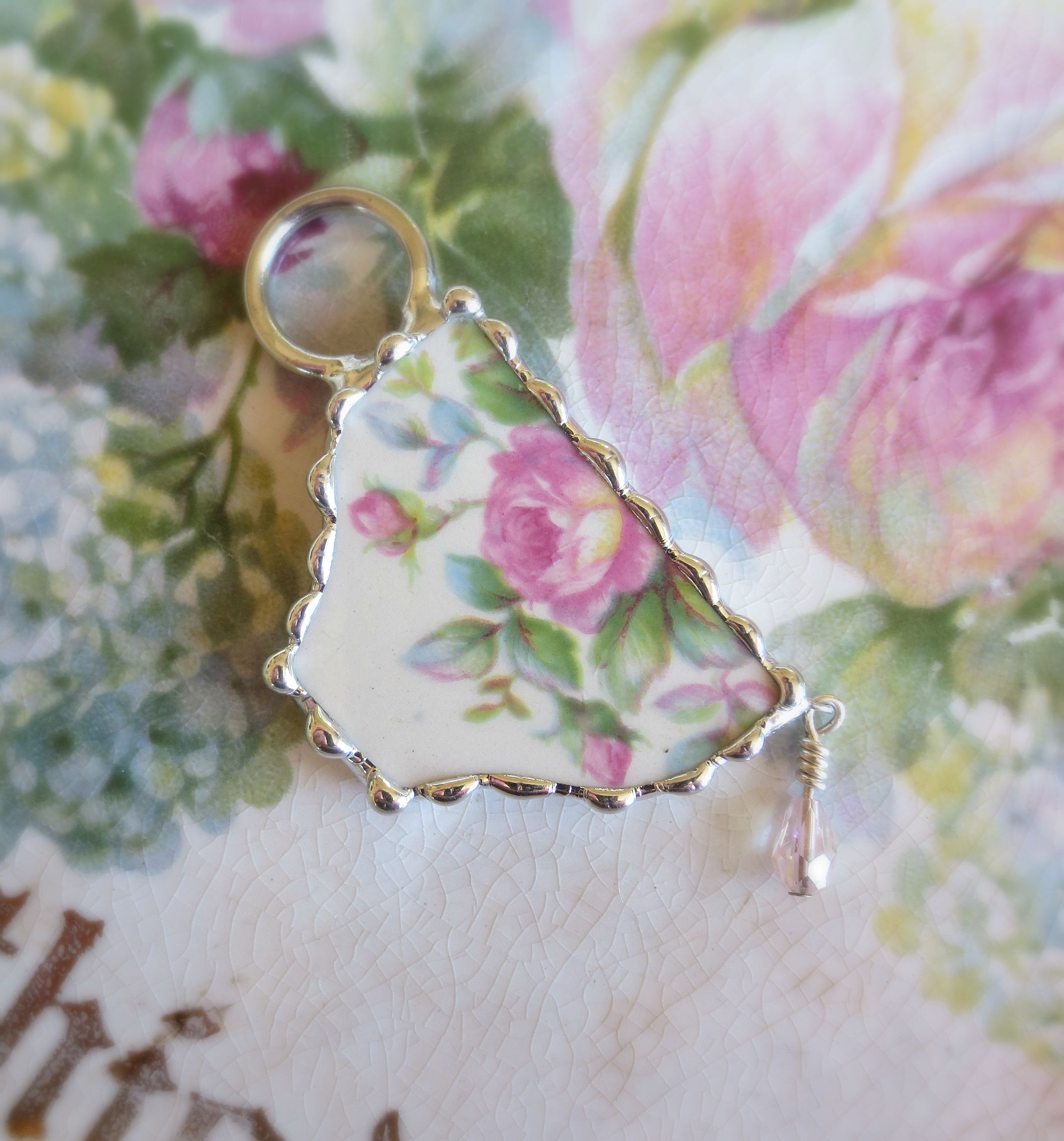 Vintage Roses China Tea Cup Pendant
