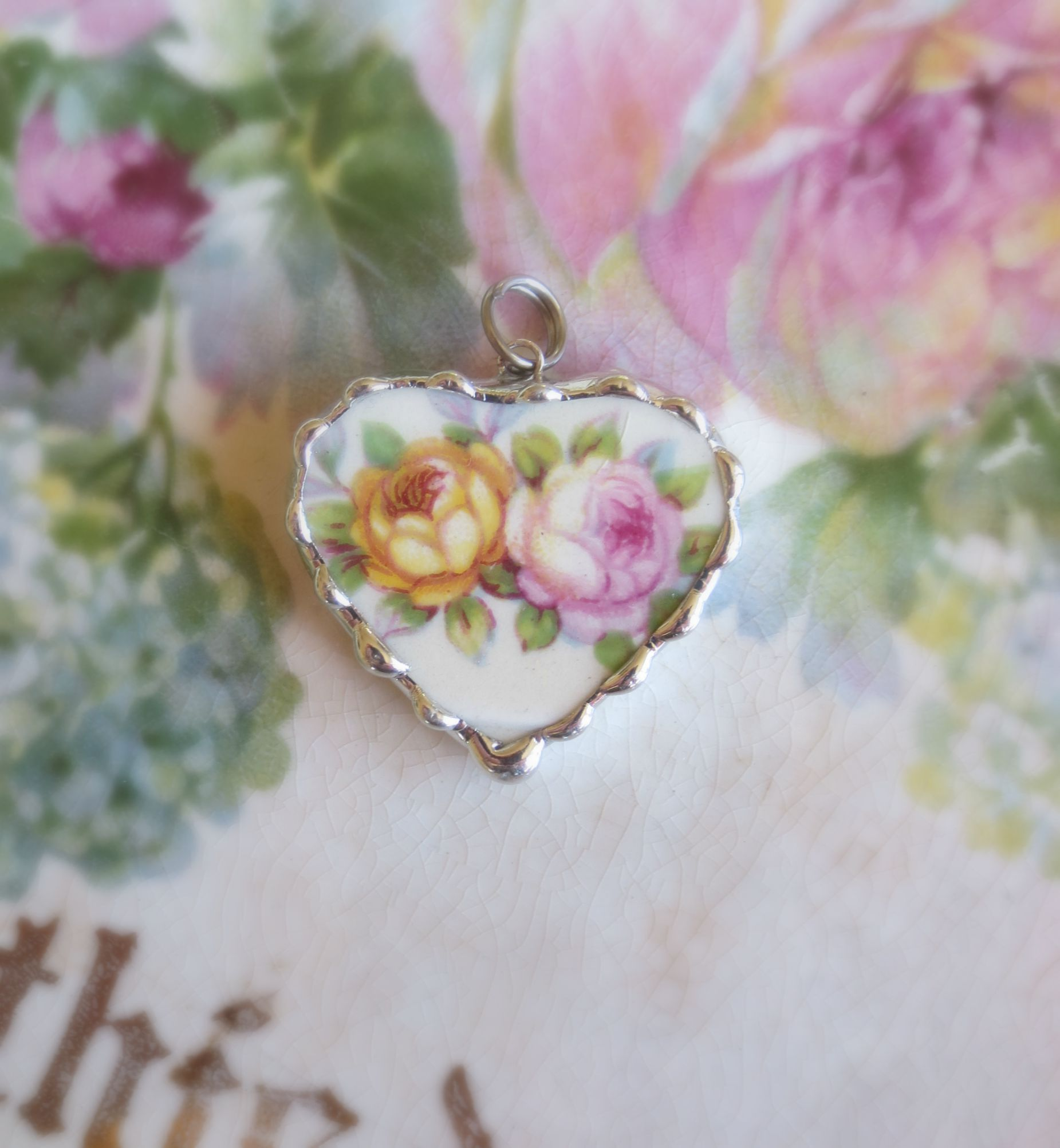 Pink & Yellow Shabby Roses Charm/Pendant