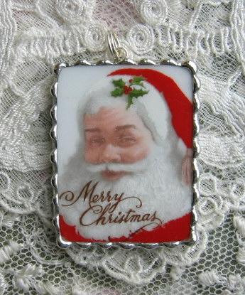 Vintage Shabby China  Santa Claus  Merry Christmas