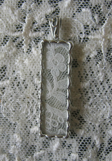Vintage Wedding Hanky Pendant