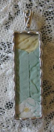 Vintage Quilt Pendant  Green